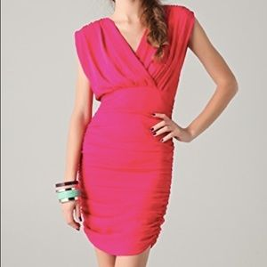 Alice + Olivia Dresses - Alice + Olivia Nanette Lipstick Pink Ruched Dress
